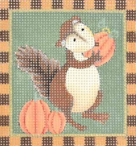 Squirrels - Pumpkin Squirrel Painted Canvas Melissa Shirley Designs