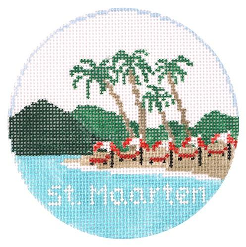 St. Maarten Round Painted Canvas Kathy Schenkel Designs