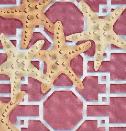 Starfish on Lattice / Pink Painted Canvas Associated Talents