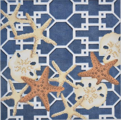 Starfish / Sand Dollars Lattice / Navy Painted Canvas Associated Talents