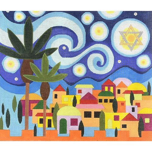 Starry Night Tallis Painted Canvas Raymond Crawford Designs