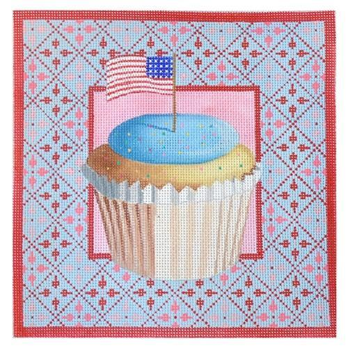 Stars & Stripes Cupcake on 13 Painted Canvas Kirk & Bradley