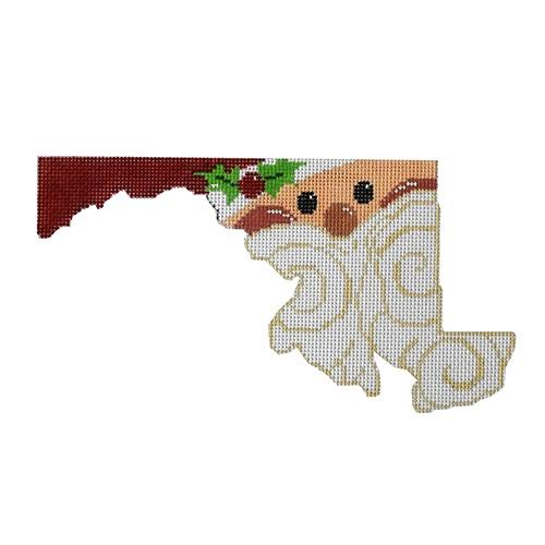 State Shaped Santa - Maryland Painted Canvas The Meredith Collection