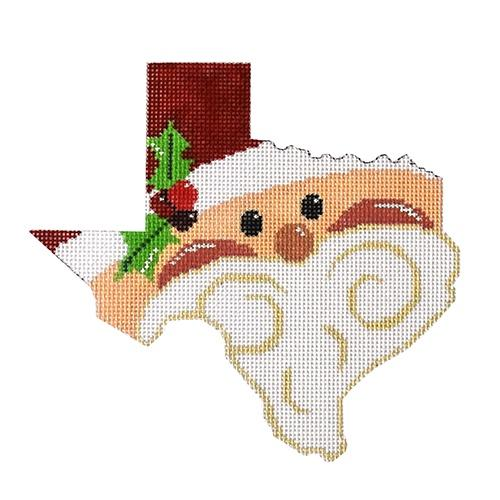 State Shaped Santa - Texas Painted Canvas The Meredith Collection