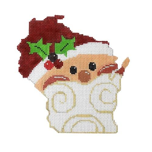 State Shaped Santa - Wisconsin Painted Canvas The Meredith Collection