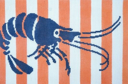 Stencil Shrimp on Coral Painted Canvas Two Sisters Needlepoint