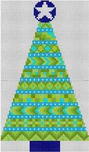 Stitchers Xmas Tree - Light Blue Painted Canvas CBK Needlepoint Collections