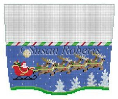 Stocking Topper - Sleigh 8 Reindeer at Night Painted Canvas Susan Roberts Needlepoint Designs Inc.