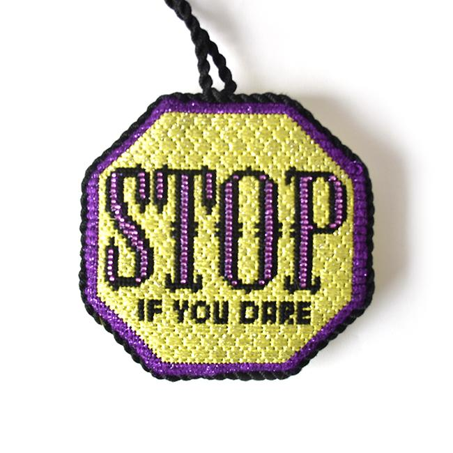 Stop - If you Dare Ornament Painted Canvas Kimberly Ann Needlepoint