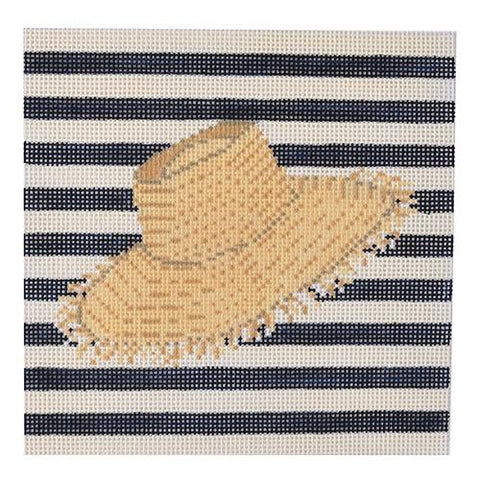 Straw Beach Hat Painted Canvas PIP & Roo