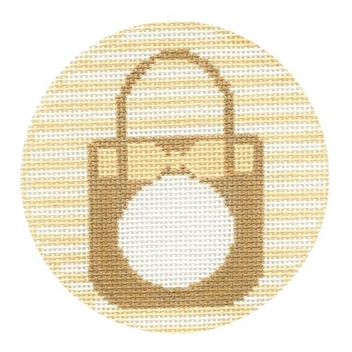 Straw Tote Monogram Round Painted Canvas Rachel Donley