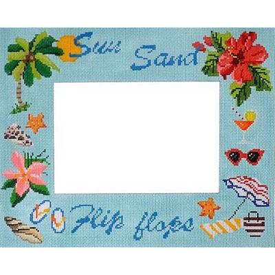Sun Sand Flip Flops Picture Frame Painted Canvas Kirk & Bradley