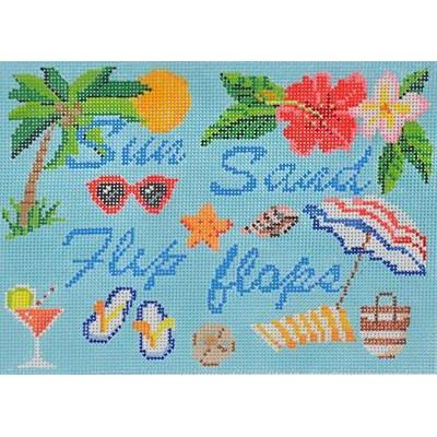 Sun Sand Flip Flops Sign Painted Canvas Kirk & Bradley