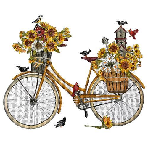 Sunflower Bike Painted Canvas Mary Lake Thompson