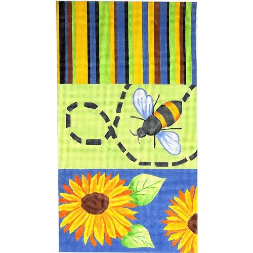 Sunflower/Stripes/Bee Clutch Painted Canvas Oasis Needlepoint