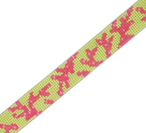 Sunglass Strap - Pink Coral on Lime Painted Canvas Kate Dickerson Needlepoint Collections