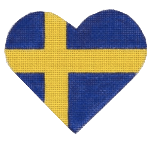 Swedish Flag Heart Painted Canvas Pepperberry Designs