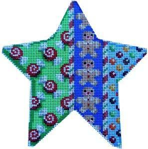 Swirl Candy / Gingerbread Star Painted Canvas Associated Talents