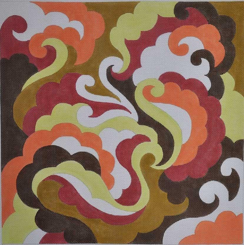 Swirls in Earth Tones Painted Canvas Julie Mar Needlepoint Designs