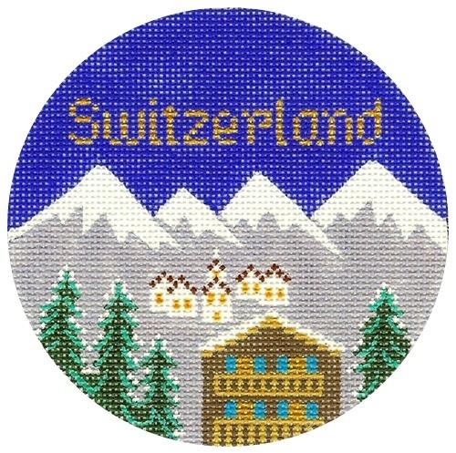 Switzerland Ornament Painted Canvas Silver Needle