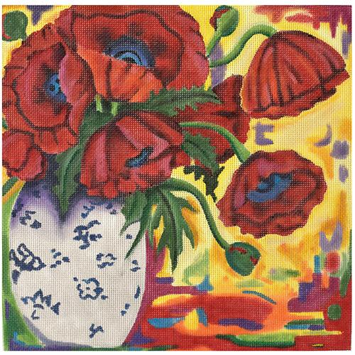 Tapestry Poppies Painted Canvas PLD Designs