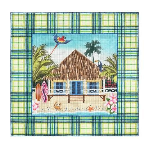 Tartan Tropical House Painted Canvas Kirk & Bradley