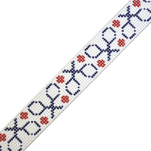 Tennis Rackets Belt on Navy Painted Canvas The Meredith Collection