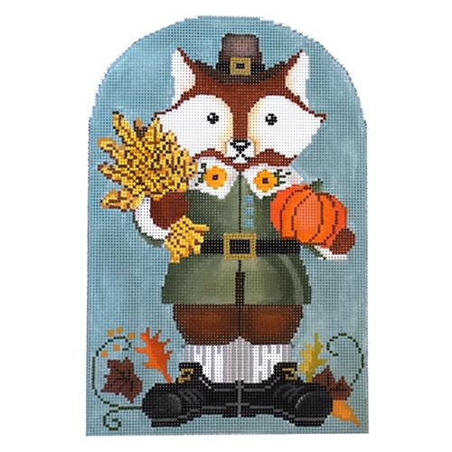 Thankful Mr. Fox Painted Canvas Tapestry Fair
