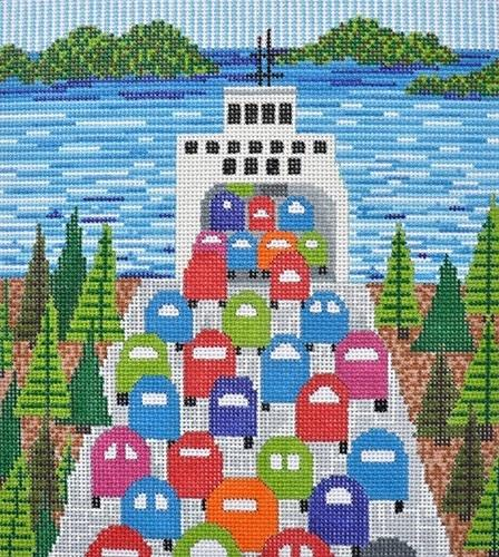 The Ferry Ride Painted Canvas CBK Needlepoint Collections