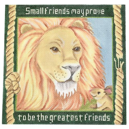 The Lion and the Mouse Painted Canvas JP Needlepoint