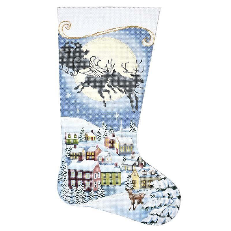 The Night Before Christmas Stocking Painted Canvas Alice Peterson Company
