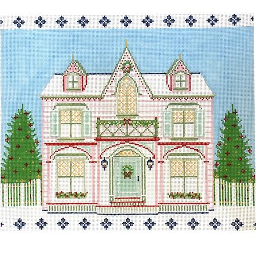 The Peppermint House Painted Canvas The Plum Stitchery