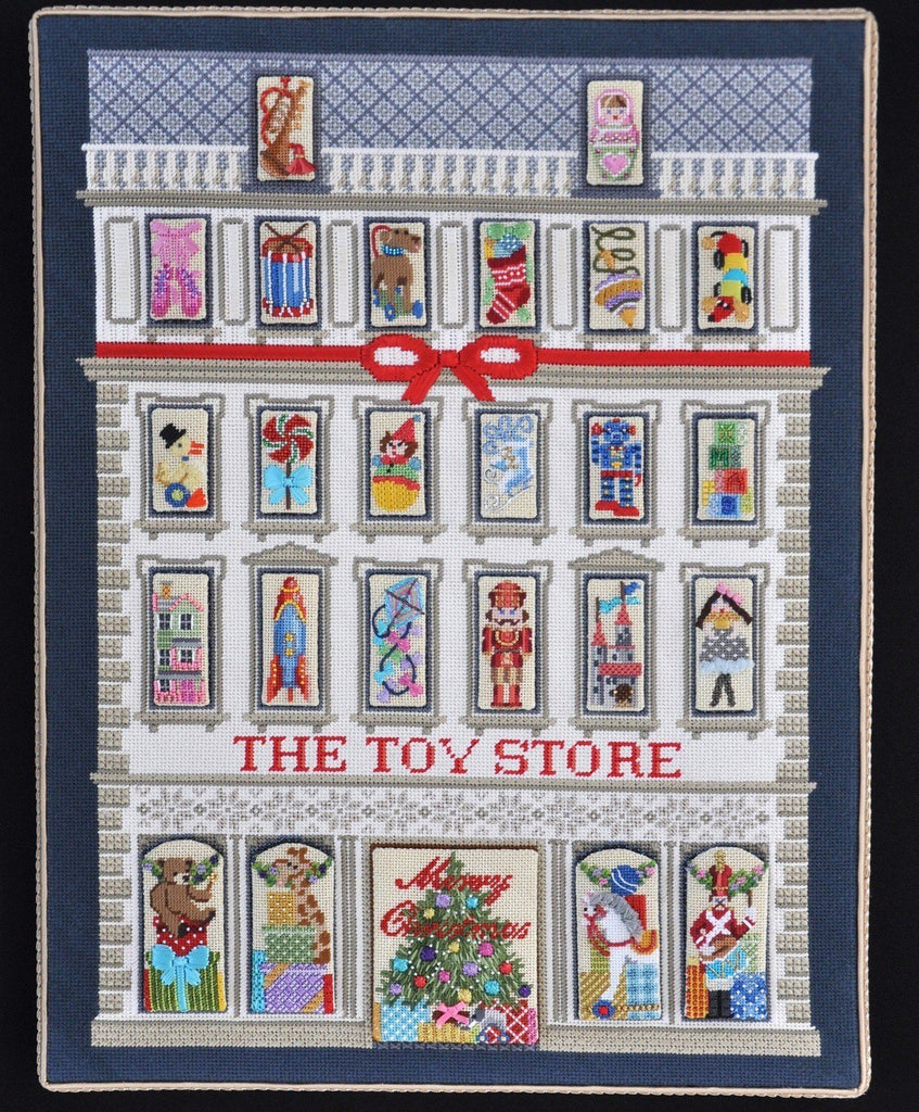 The Toy Store Calendar & Set of 25 Windows with Stitch Guide Painted Canvas Needlepoint.Com