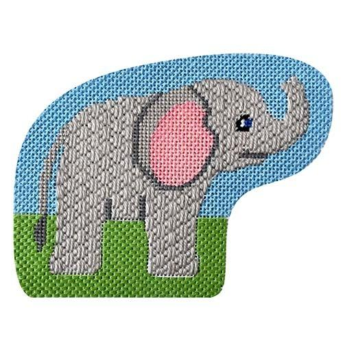This Place is a Zoo - Elephant with Stitch Guide Painted Canvas Needlepoint.Com