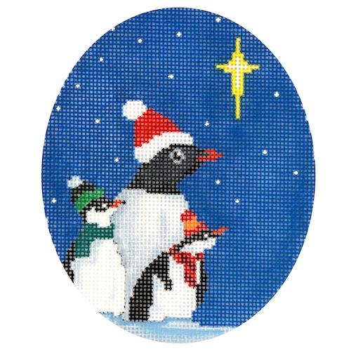 Three Penguins with Star Painted Canvas Scott Church Creative