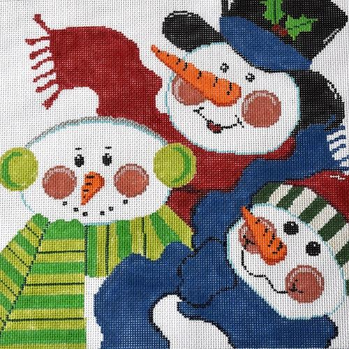 Three Snowmen Pillow Painted Canvas The Meredith Collection