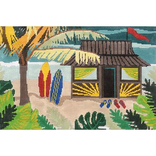 Tiki Hut Painted Canvas CBK Needlepoint Collections