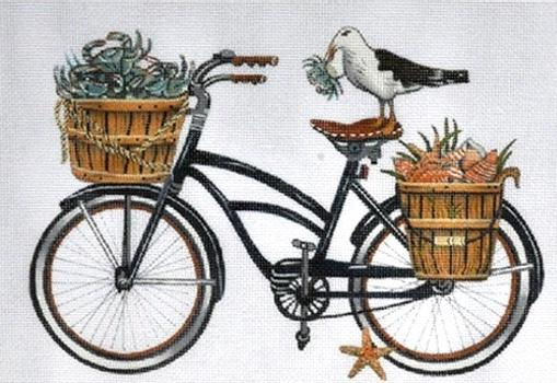 Time to Bike - Beach Bike Painted Canvas Mary Lake Thompson