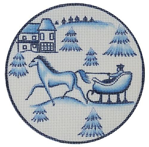 Toile Horse and Sled Blue Painted Canvas Love You More