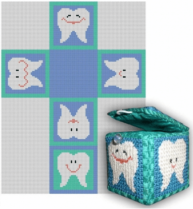 Tooth Fairy Box - Blue Painted Canvas CBK Needlepoint Collections