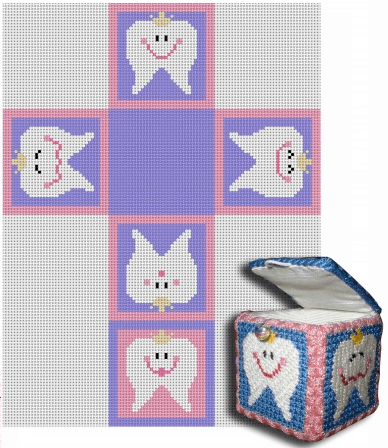 Tooth Fairy Box - Pink Painted Canvas CBK Needlepoint Collections