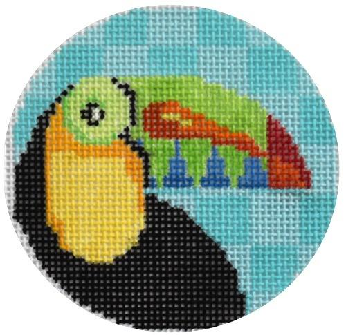 Toucan Round Painted Canvas Two Sisters Needlepoint