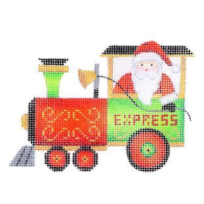 Train Series - Engine with Santa Painted Canvas Burnett & Bradley
