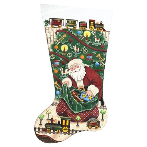 Trains for Christmas Stocking on 18 Painted Canvas Rebecca Wood Designs