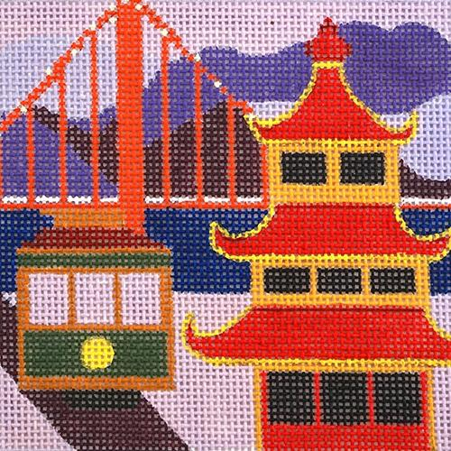 Travel Coaster - San Francisco Painted Canvas Melissa Prince Designs