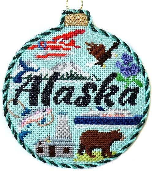 Travel Round - Alaska with Stitch Guide Painted Canvas Needlepoint.Com