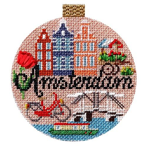 Travel Round - Amsterdam with Stitch Guide Painted Canvas Needlepoint.Com