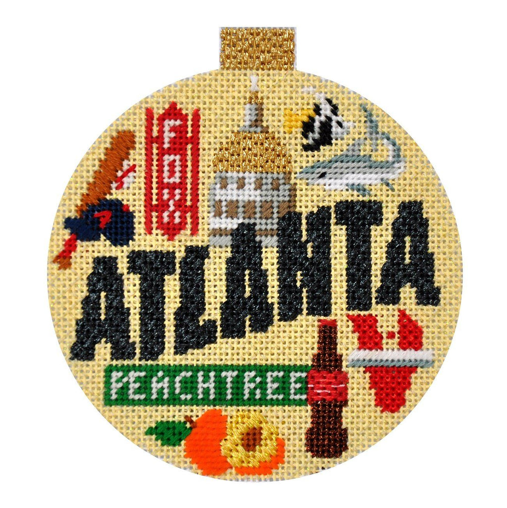 Travel Round - Atlanta with Stitch Guide Painted Canvas Needlepoint.Com
