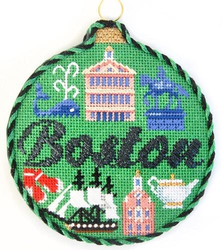 Travel Round - Boston with Stitch Guide Painted Canvas Needlepoint.Com