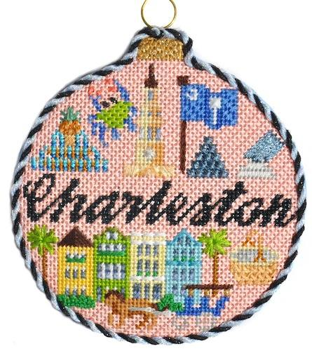 Travel Round - Charleston with Stitch Guide Painted Canvas Needlepoint.Com